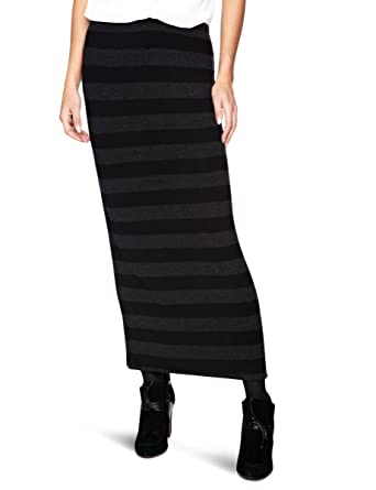 9ac1ea7f096 Sahara MAS08-MSJ Marl Stripe Tube Maxi Women s Skirt Black Grey Medium