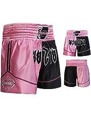 Farabi Pantalones Cortos de Boxeo, Artes Marciales, Muay Thai en Color Negro y Rosa