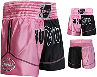 Muay Thai Boxing Kick Boxing Martial Arts Shorts Pink Black Shorts (XXS)