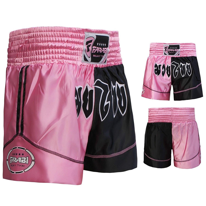 Muay Thai Boxing Kick Boxing Martial Arts Shorts Pink Black Shorts Farabi Sports
