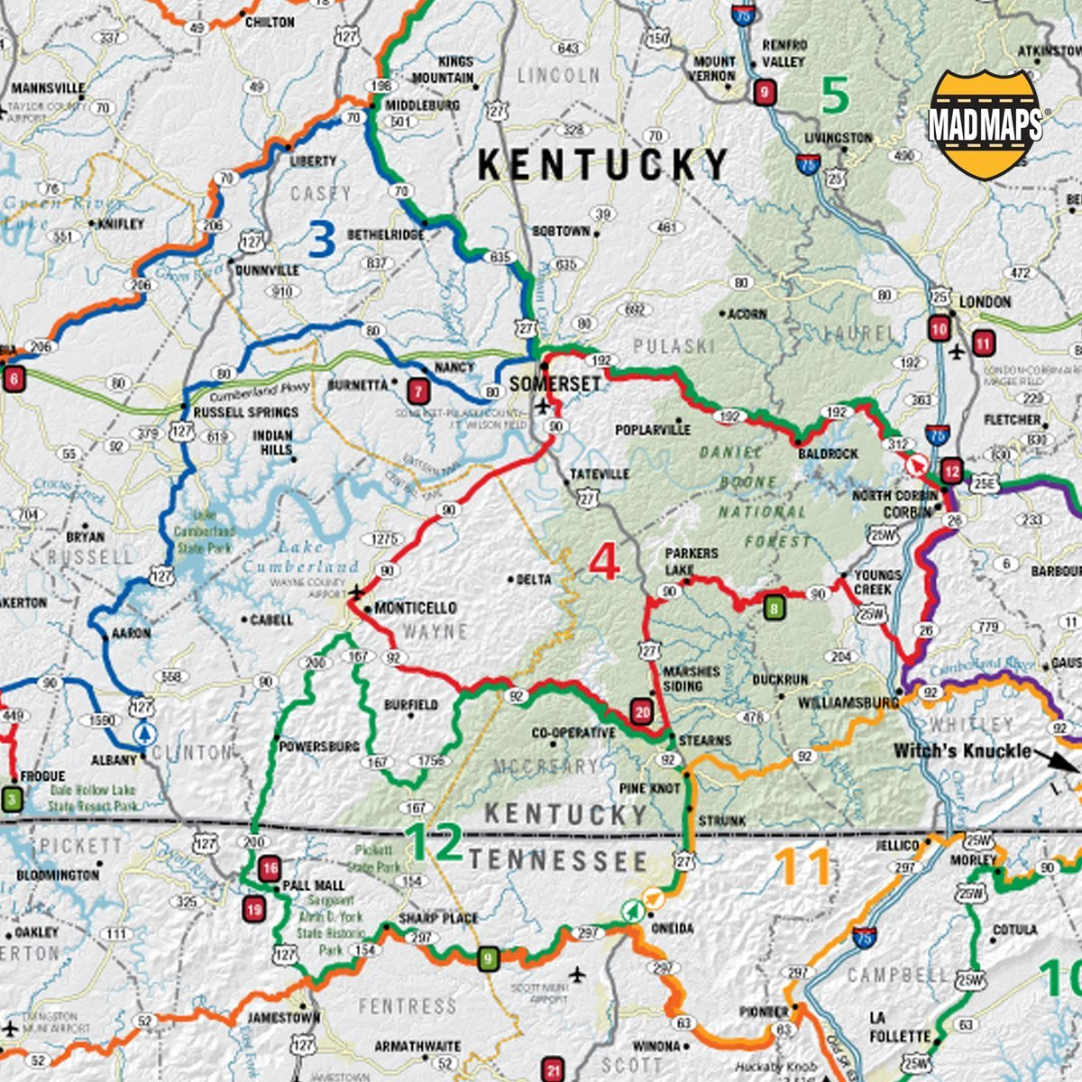 MAD Maps - Scenic Road Trips Map of Smoky Mountains - USRT170: MAD Ky Mountain Parkway Road Map on ky road map, ky roadways map, ky lakes map, ky campgrounds map, ky bus map, ky parks map, ky rivers map, ky golf courses map,