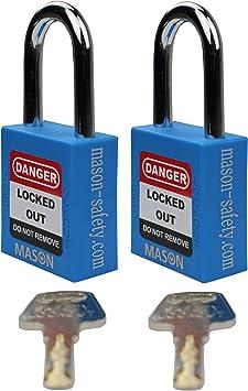Mason Lockout Tagout 2 Pack Keyed Alike candado de Seguridad, Azul Loto (2 Unidades con Llave Similar): Amazon.es: Bricolaje y herramientas