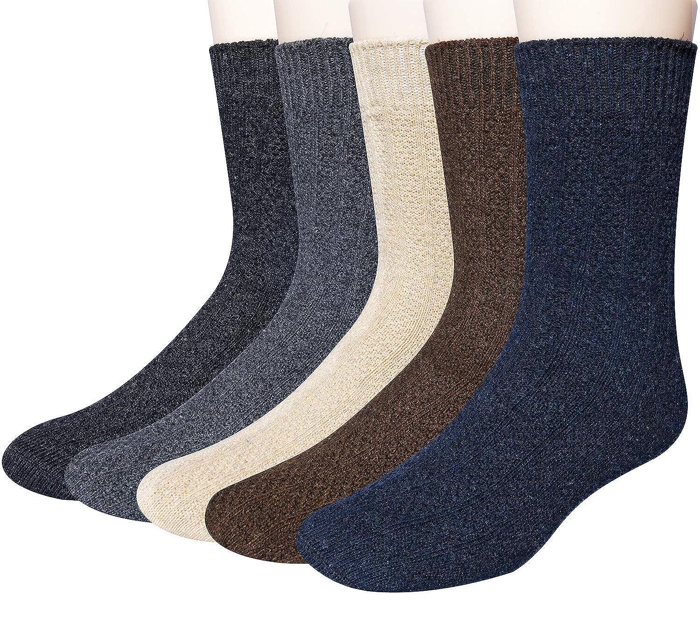 5 Pack Mens Winter Soft Warm Wool Knitting Cotton Casual Crew Socks 034-MS-2