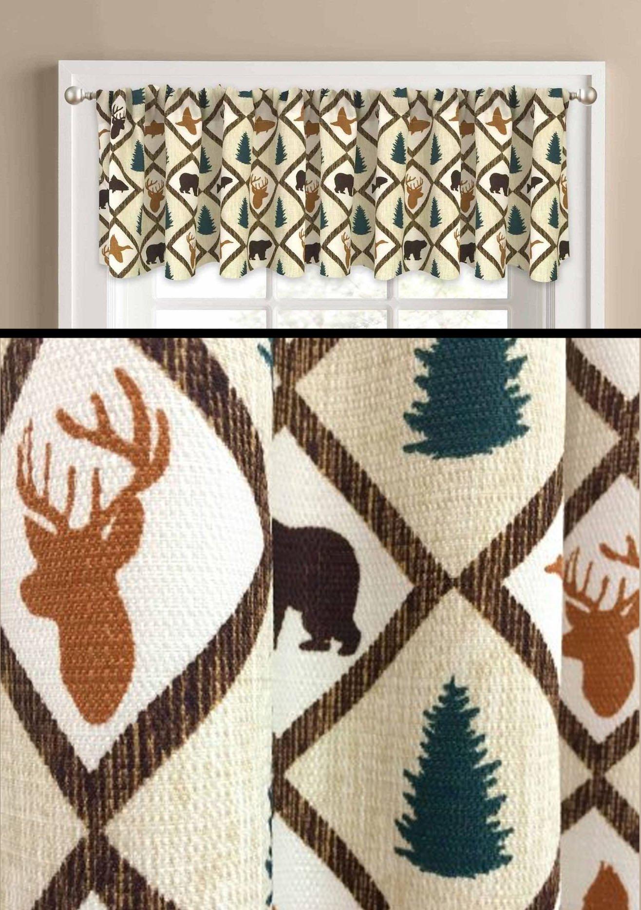 Textured Woodland Valance Window Rustic Primitive Tree Lodge Cabin
