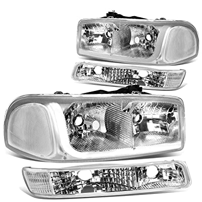 DNA Motoring HL-LB-SIERRA99-CH-CL1 4PCs LED DRL Strip Headlight+Bumper Lamp[99-07 GMC Sierra/Yukon]: Automotive