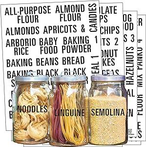 Talented Kitchen 224 Pantry Labels. All Caps Pantry & Fridge Mega Labels Set. 224 Food Jar Stickers Decal. Water Resistant Pantry Organization Storage (Set of 244– All Caps Bold Black Pantry & Fridge)