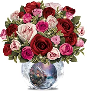 The Bradford Exchange Thomas Kinkade Today, Tomorrow, Always Lighted Hand-Made Floral and Vase
