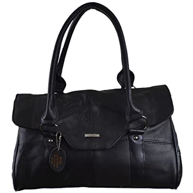 e650961ac115 Ladies Leather Shoulder Bag   Handbag with Folder Over Flap and Magentic  Clasp. ( Black )  Amazon.co.uk  Shoes   Bags