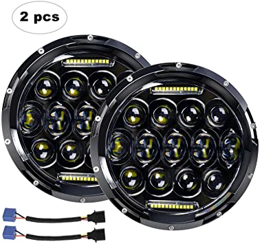 2X 7inch 75W LED Headlight H4 DRL Hi-Lo BEAM For 07-now for JEEP JK Wrangler TJ