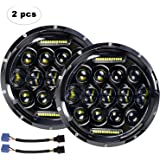 "LED Headlight for Jeep Wrangler AAIWA 7"" 75W Round LED Headlamp with Daytime Running Light DRL High Low Beam for Jeep Wrangler JK TJ LJ Harley Motorcycle with H4 H13 Adapter,2PCS,5 Years Warranty"