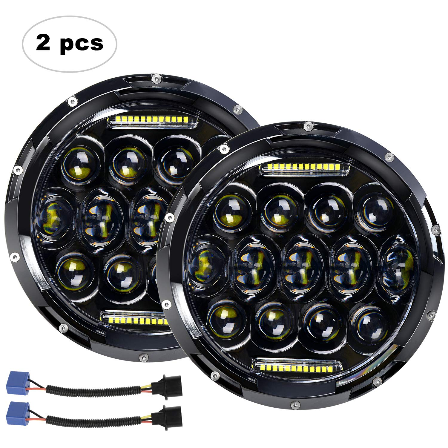"AAIWA 7"" 75W Round LED Headlamp with Daytime Running"