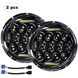 "LED Headlight for Jeep Wrangler AAIWA 7"" 75W Round LED Headlamp with Daytime Running Light DRL High Low Beam for Jeep Wrangler JK TJ LJ Motorcycle with H4 H13 Adapter,2PCS,2 Years Warranty"