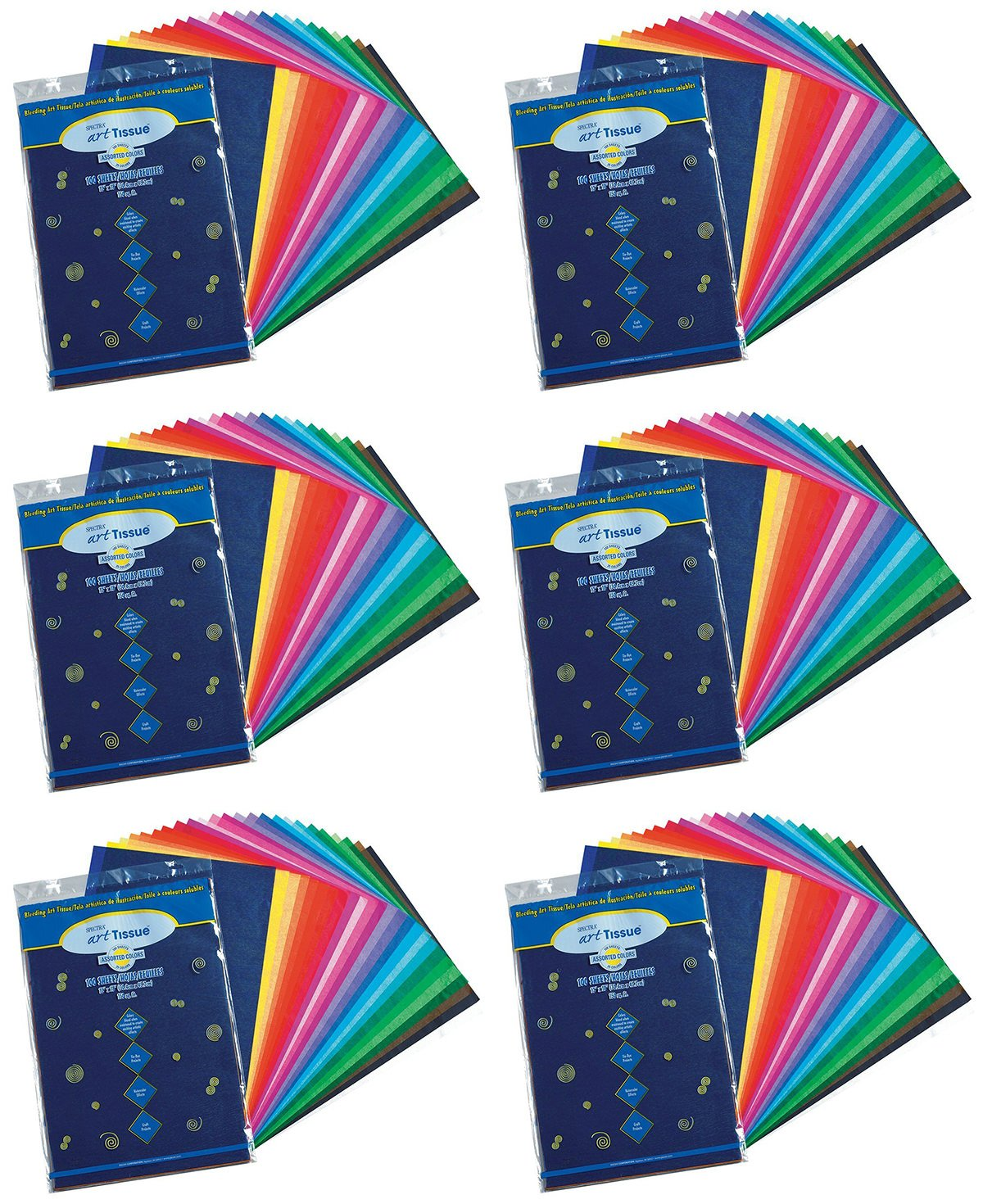 Pacon Spectra(R) Assorted Color Tissue Pack, 12'' x 18'', 25 Colors, Pack Of 600 Sheets