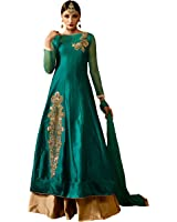 AnK Women's Firozi & Gold Taffeta Silk Semi Stitched Indo Western Salwar Suit With Dupatta