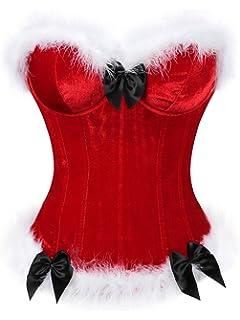 2e7757318 Amazon.com  KENANCY Womens Plus Size Christmas Santa Costume Bustier ...