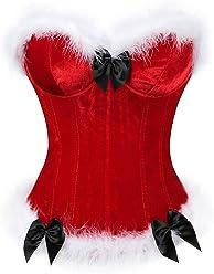8d3c5a717dd lttcbro Women s Mrs Santa Claus Valentines Corset Top Overbust Bow Knot  Bustiers