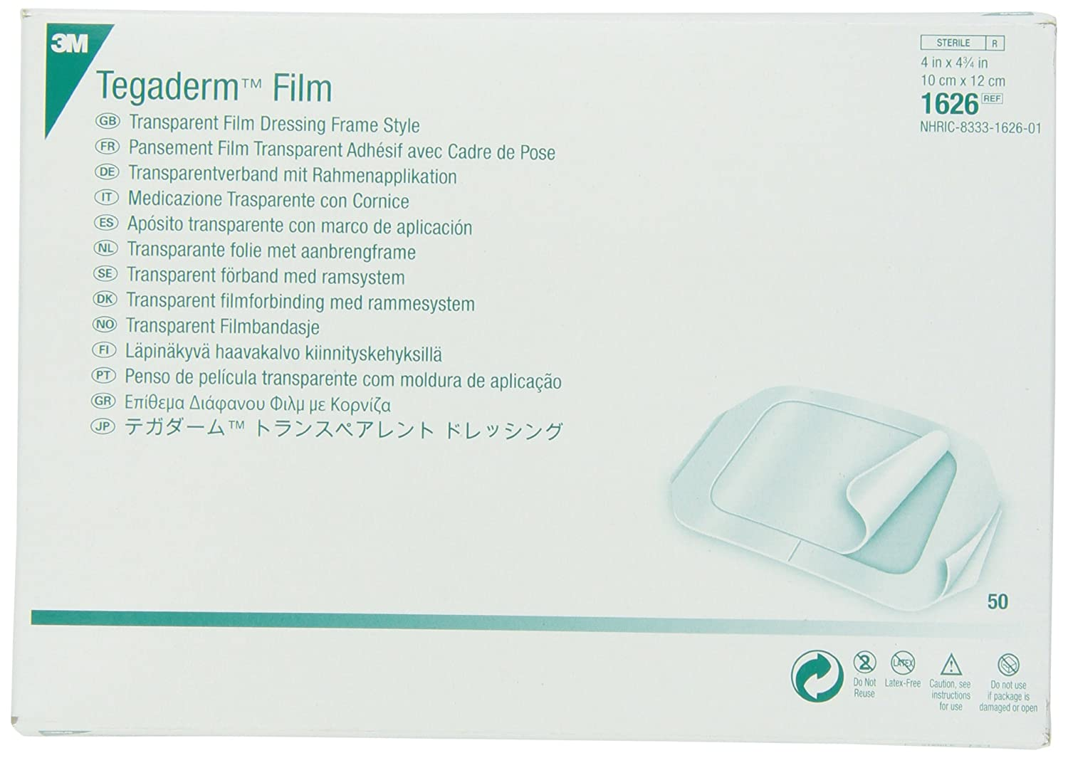 3M Tegaderm Transparent Film Dressing Frame Style 1626 (Pack of 50)