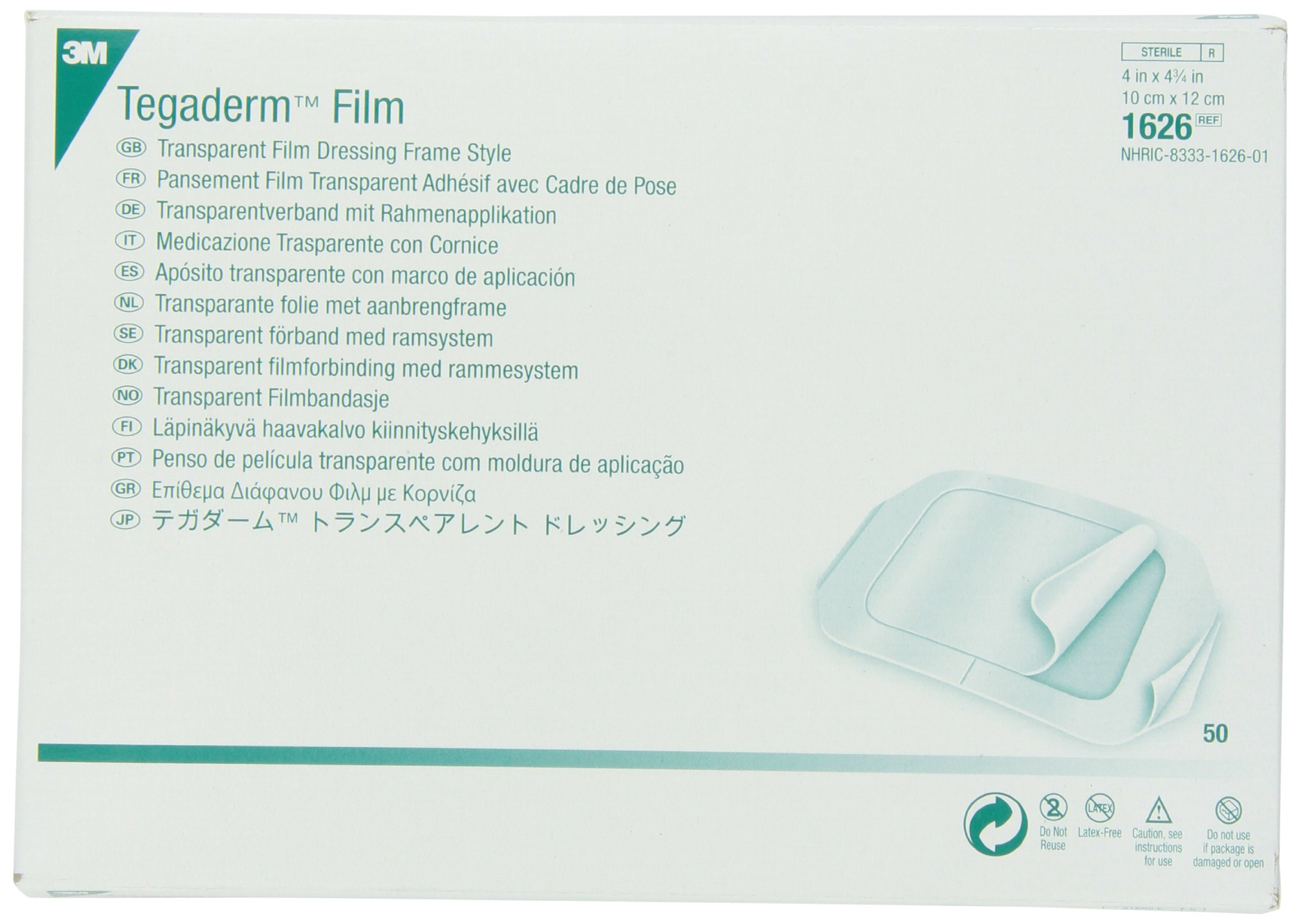 3M Tegaderm Transparent Film Dressing Frame Style 1626 (Pack of 50) by 3M