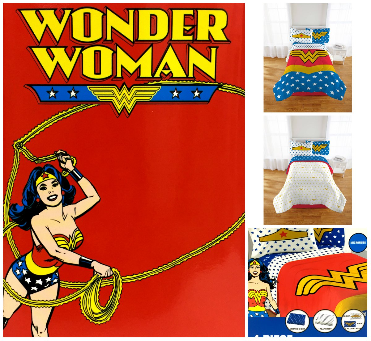 DC Comics Wonder Woman 5 Piece Bedding Set FULL -Reversible Twin/Full Comforter and Full Sheet Set with 2 Pillowcases Namaste goods