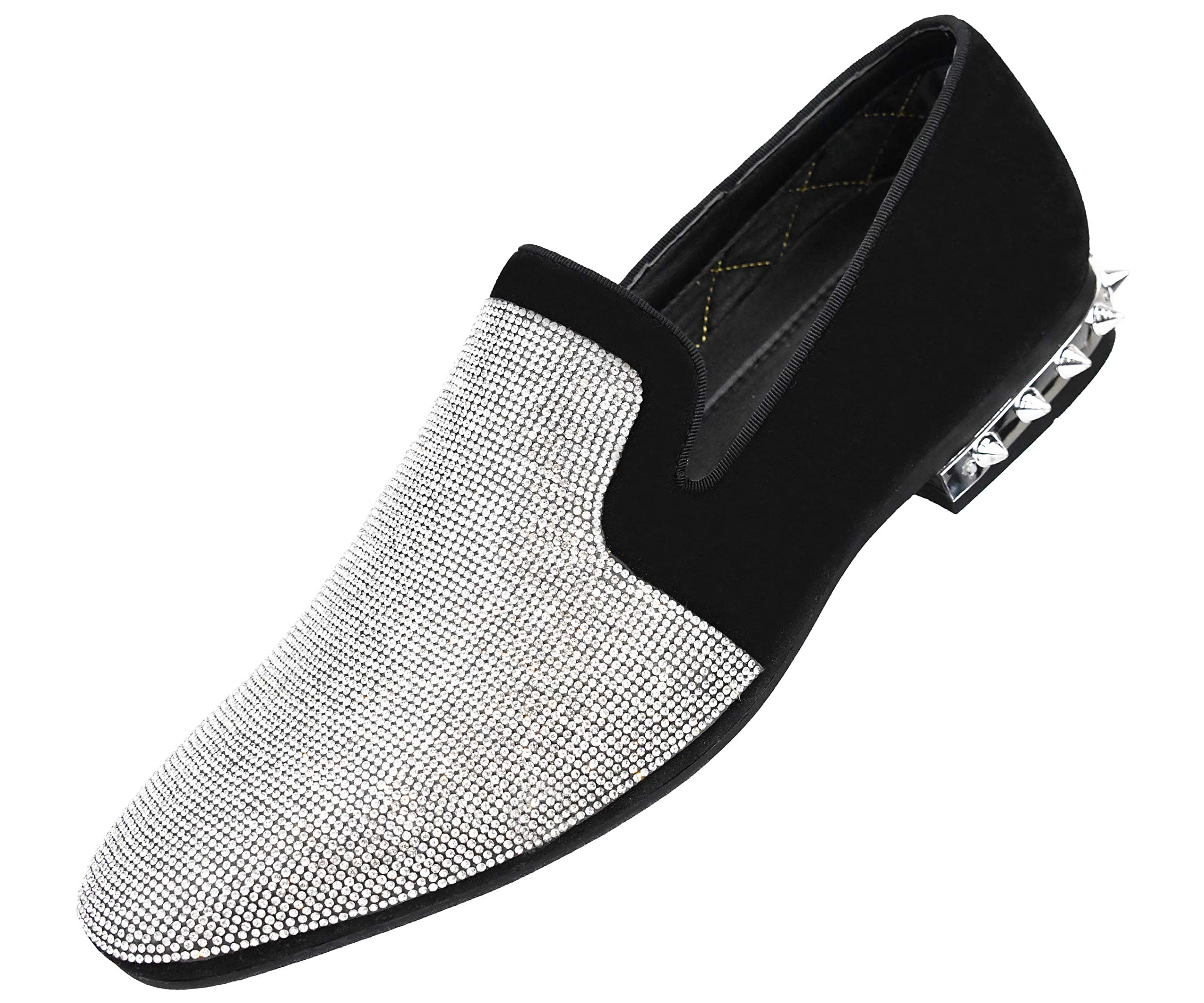 4507ce69863 Amali Men s Rhinestone Embellished Faux Suede Smoking Slipper with Spiked Heel  Dress Shoe