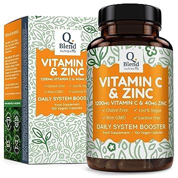Vitamina C 1200 mg y Zinc 40 mg - 120 Cápsulas Vegetarianas - Mantener un Sistema Inmunológico Saludable - 2 Cápsulas al día - Hecho en UK por ...