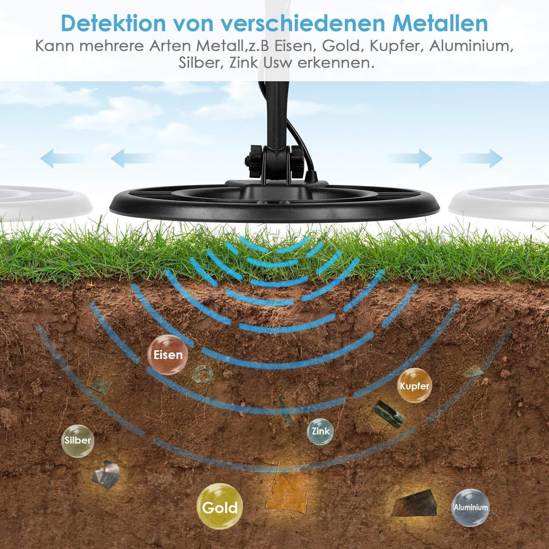 Detector de metales profesional Amzdeal con bobina de búsqueda impermeable de 18,5 cm y pala flip multifuncional, función discriminatoria y para encontrar ...