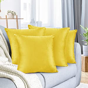"""Nestl Bedding Throw Pillow Cover 16"""" x 16"""" Soft Square Decorative Throw Pillow Covers Cozy Velvet Cushion Case for Sofa Couch Bedroom, Set of 4, Yellow"""