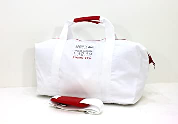 LACOSTE L.12.12 ENERGIZED WHITE  RED MENS SPORT DUFFLE BAG  GYM  WEEKEND BAG cf832bb0dfcff