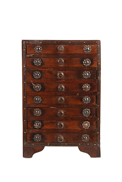 ARTEMENO Brown Wooden Chest 8 Drawer