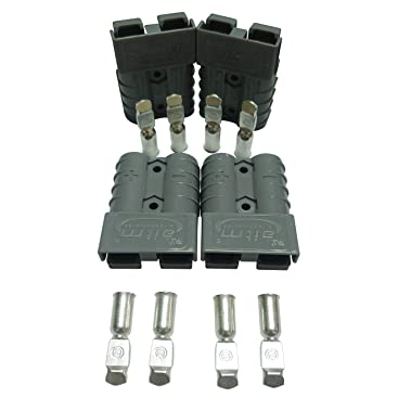 Batterie Connecteur 50A Batterie Connexion Rapide Prise de Connecteur 50Amp 600V Pour Voiture Van Les Modes Moto 4 PCS Kit 6 Awg, Rouge