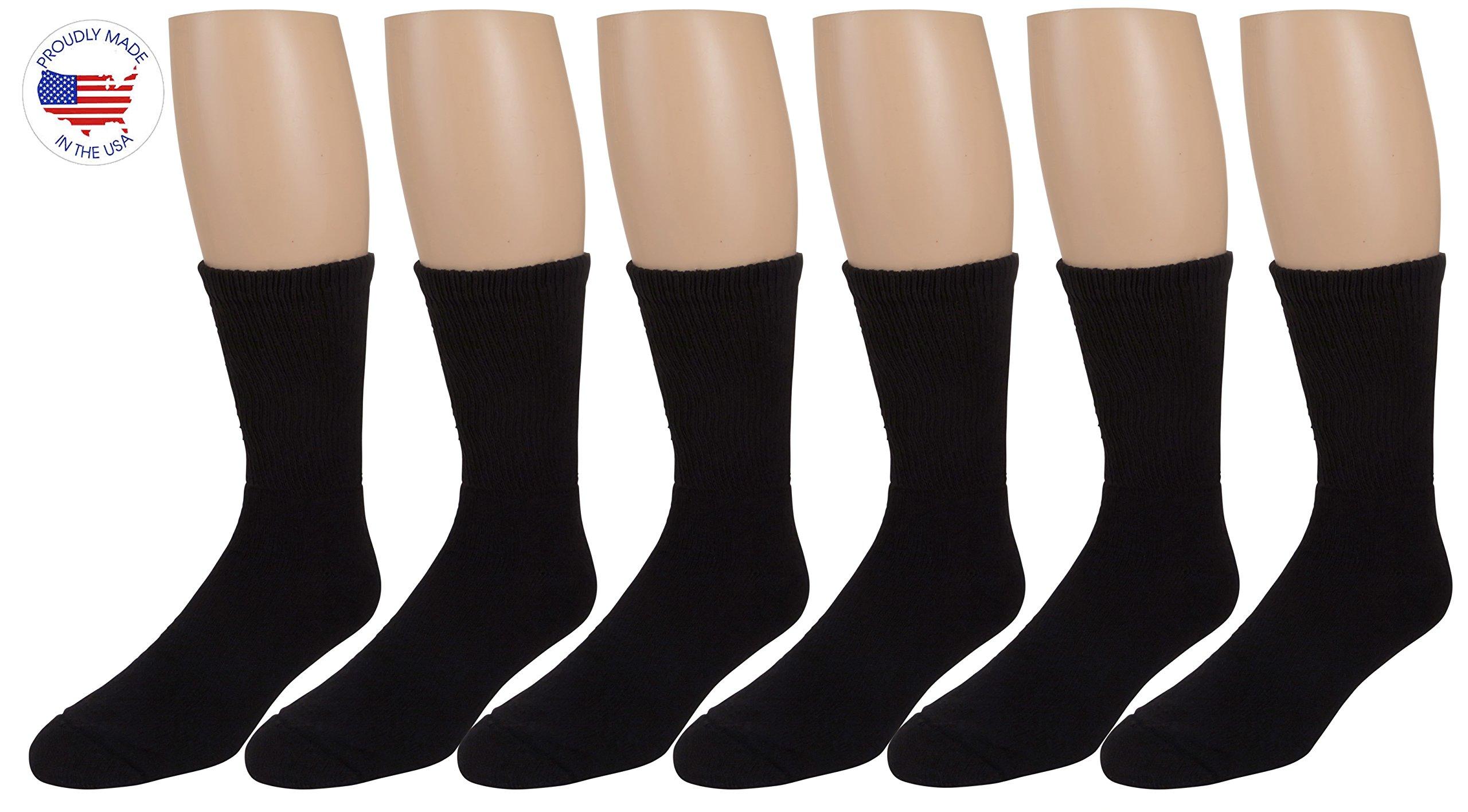 Men's Diabetic Socks, Loose Crew Fit For Better Circulation -6 or 12 Pack -Zeke (10-13, Black 6 Pack)