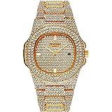 Reloj unisex de lujo con cristales y diamantes de imitación de cara grande para mujer, reloj de cuarzo, color dorado, color p