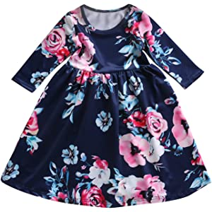 a14e7f78f Amazon.com  Toddler Infant Baby Girl Dress Floral Ruffle Half Sleeve ...