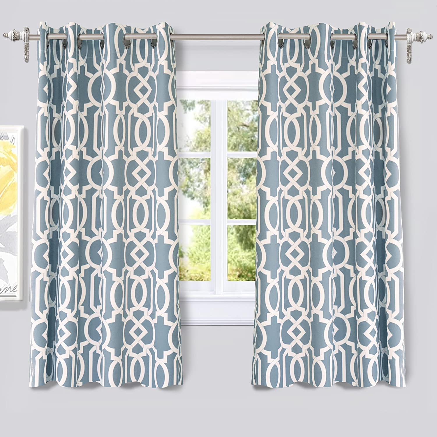 DriftAway Abigail Trellis Room Darkening/Thermal Insulated Grommet Unlined Window Curtains Blue
