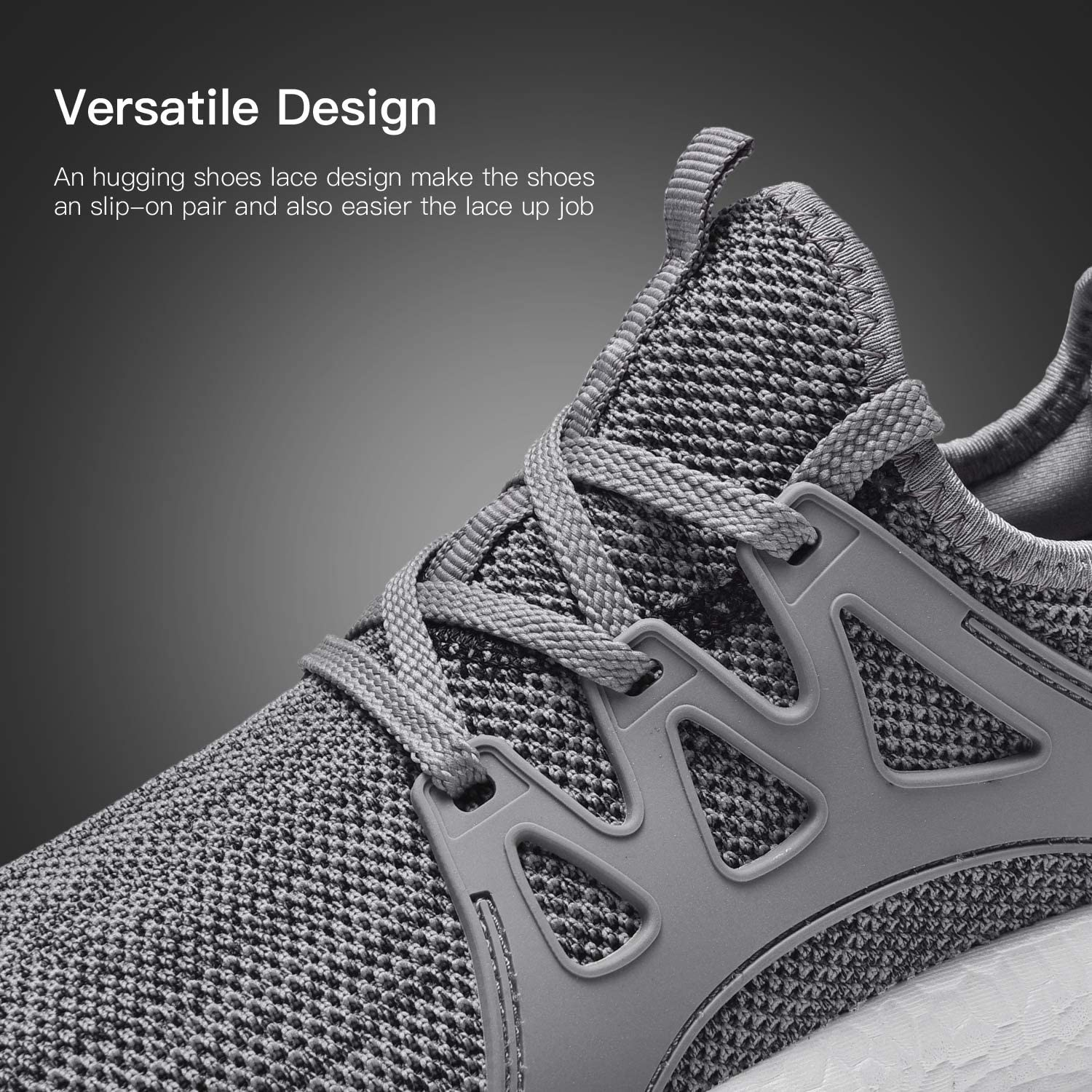 RELANCE Men Running Shoes, Lightweight Athletic Shoes for Workout Training Tennis Jogging Sport Shoes Footwear Grey