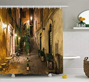 Ambesonne Italian Shower Curtain, Old Courtyard Rome Italy Cafe Chairs City Historic Houses in Street, Cloth Fabric Bathroom Decor Set with Hooks, 70 Inches, Pale Yellow Green Orange