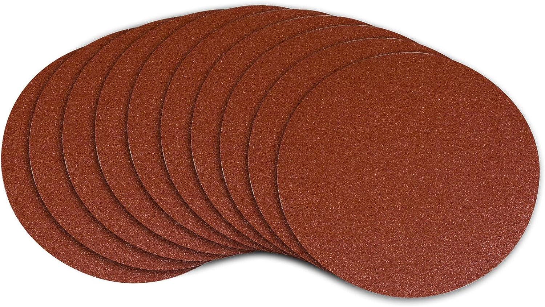 POWERTEC 110580 9-Inch PSA 80 Grit Aluminum Oxide Adhesive Sanding Disc, 10-Pack - Hook And Loop Discs -