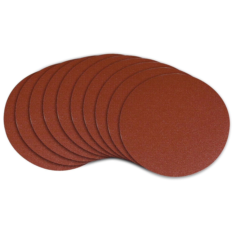 POWERTEC 110260 6-Inch PSA 100 Grit Aluminum Oxide Sanding Disc, Self Stick, 10-Pack