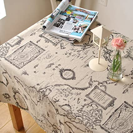 LINENLUX Linens Tablecloths Picnic Burlap Tablecloth For  Roundu0026Rectangularu0026Oval Table Cover With Map Printed(Map,
