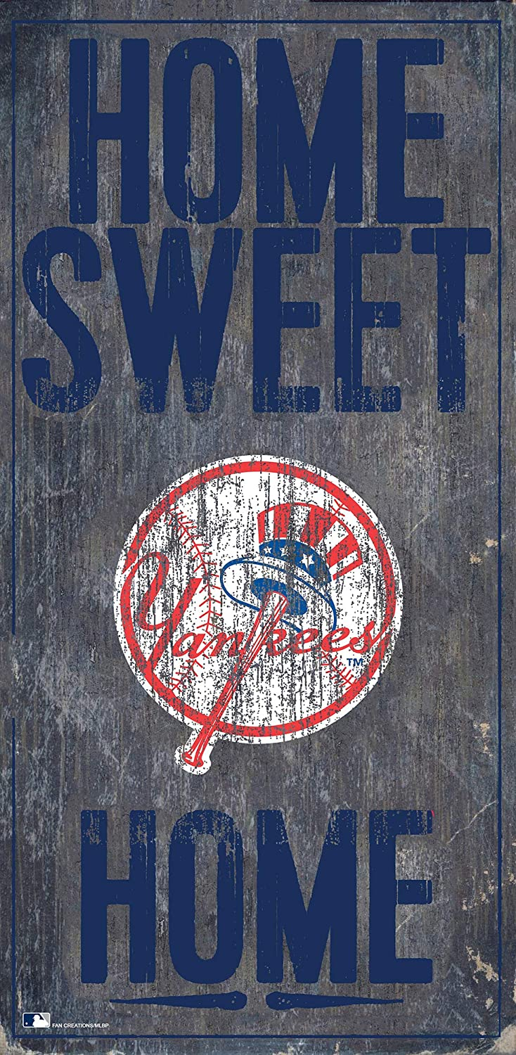 MLB New York Yankees Unisex New York Yankees Home Sweet Home Sign, Team Color, 6 x 12