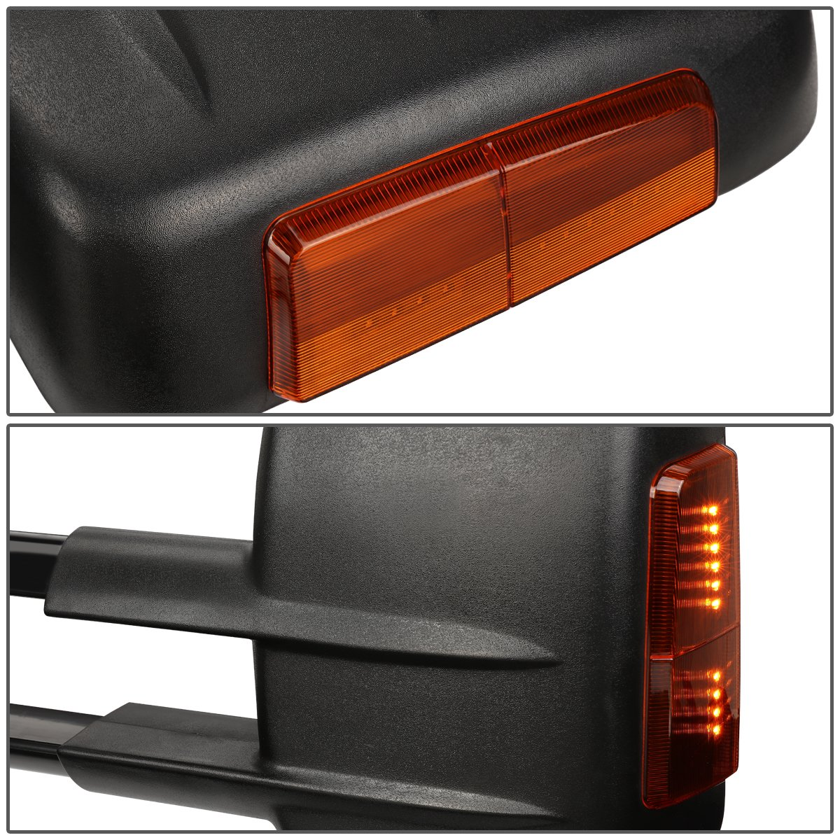 Driver /& Passenger Sides DNA MOTORING TWM-001-T888-BK-AM Pair of Towing Side Mirrors