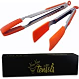 YumYum Utensils Silicone Kitchen Tongs 12 and 9 Inch Stainless Steel, Set of 2