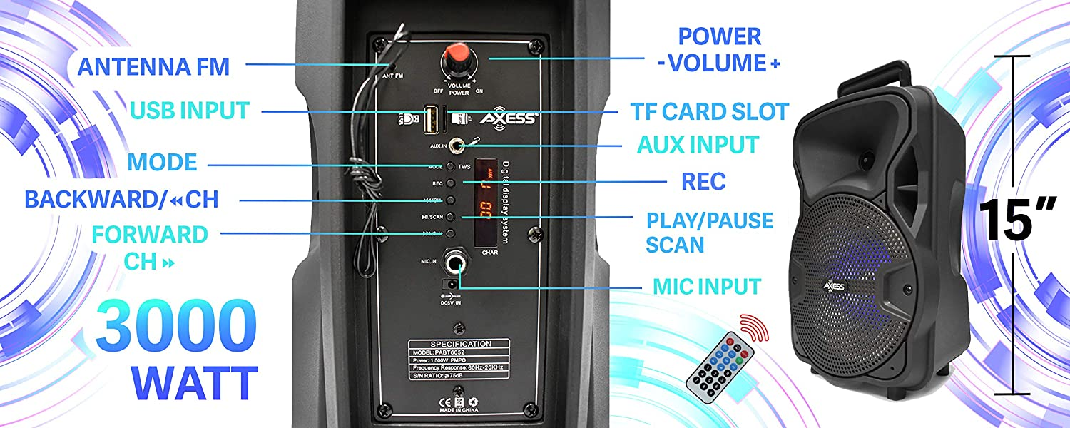 HD Sound System for Parties with Built-in LED Lights TF Card Aux Model # PABT6052 Wireless PA Speaker USB Axess 8/'/' Portable Bluetooth Speaker with Woofer /& Tweeter FM /& Mic Supported