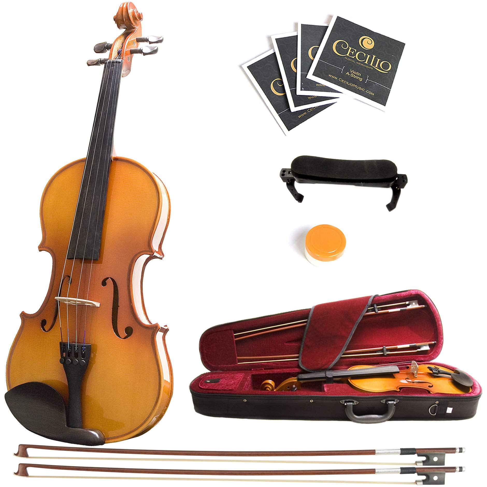 Mendini 4/4 MV400 Ebony Fitted Solid Wood Violin with Hard Case, Shoulder Rest, Bow, Rosin, Extra Bridge and Strings - Full Size by Mendini by Cecilio