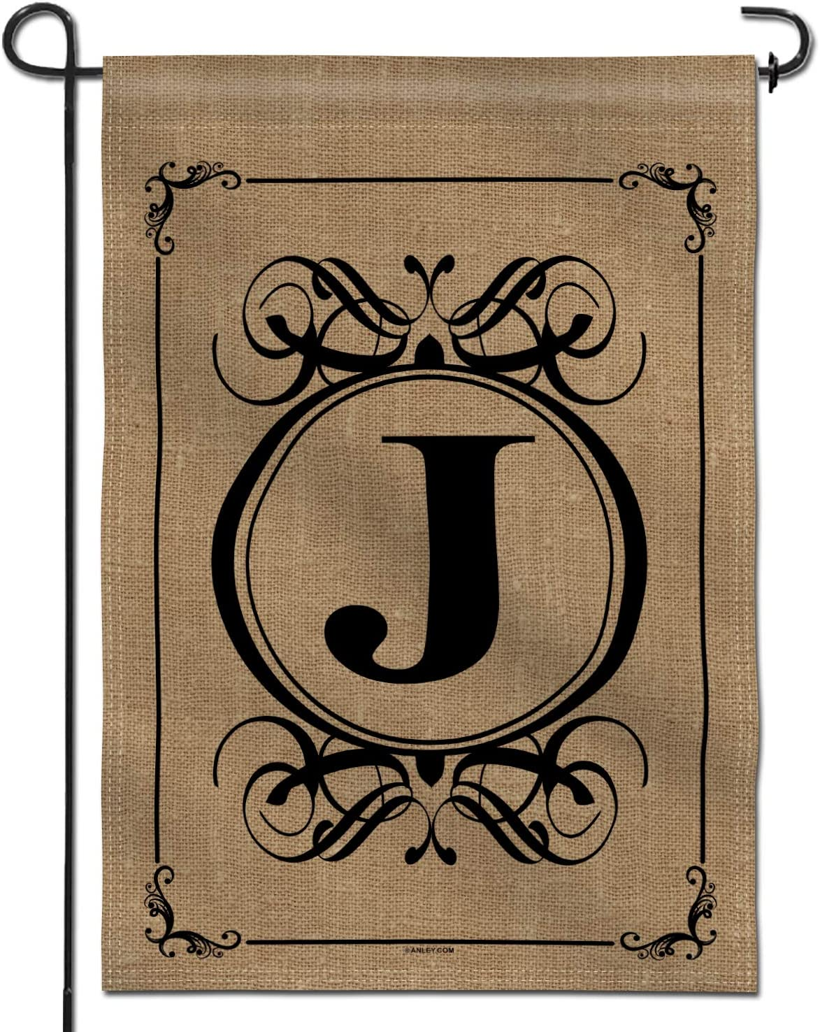 Anley Classic Monogram Letter J Garden Flag, Double Sided Family Last Name Initial Yard Flags - Personalized Welcome Home Decor - Weather Resistant & Double Stitched - 18 x 12.5 Inch