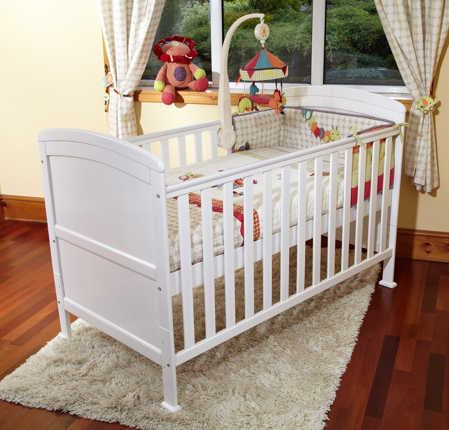 POPPY'S PLAYGORUND NEW BABY PENELOPE LUXURY COT BED & SAFETY SPRUNG MATTRESS-COTBED/JUNIOR BED - WHITE Poppy's Playground