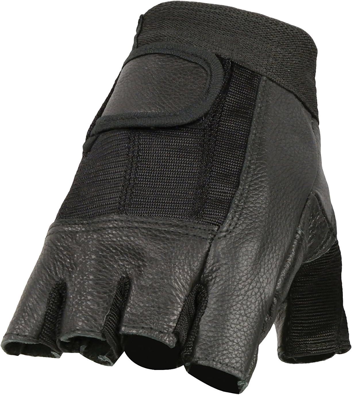 Black, XX-Large Spandex and Leather G Shaf International Mens Fingerless Gloves