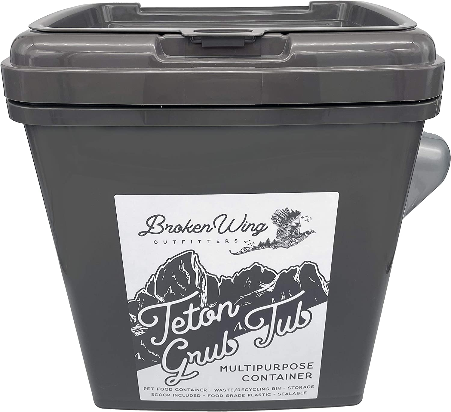 Drunkin Skull Teton Grub Tub Large Airtight Pet Food Container with Scoop - 45lb Capacity with Wheels