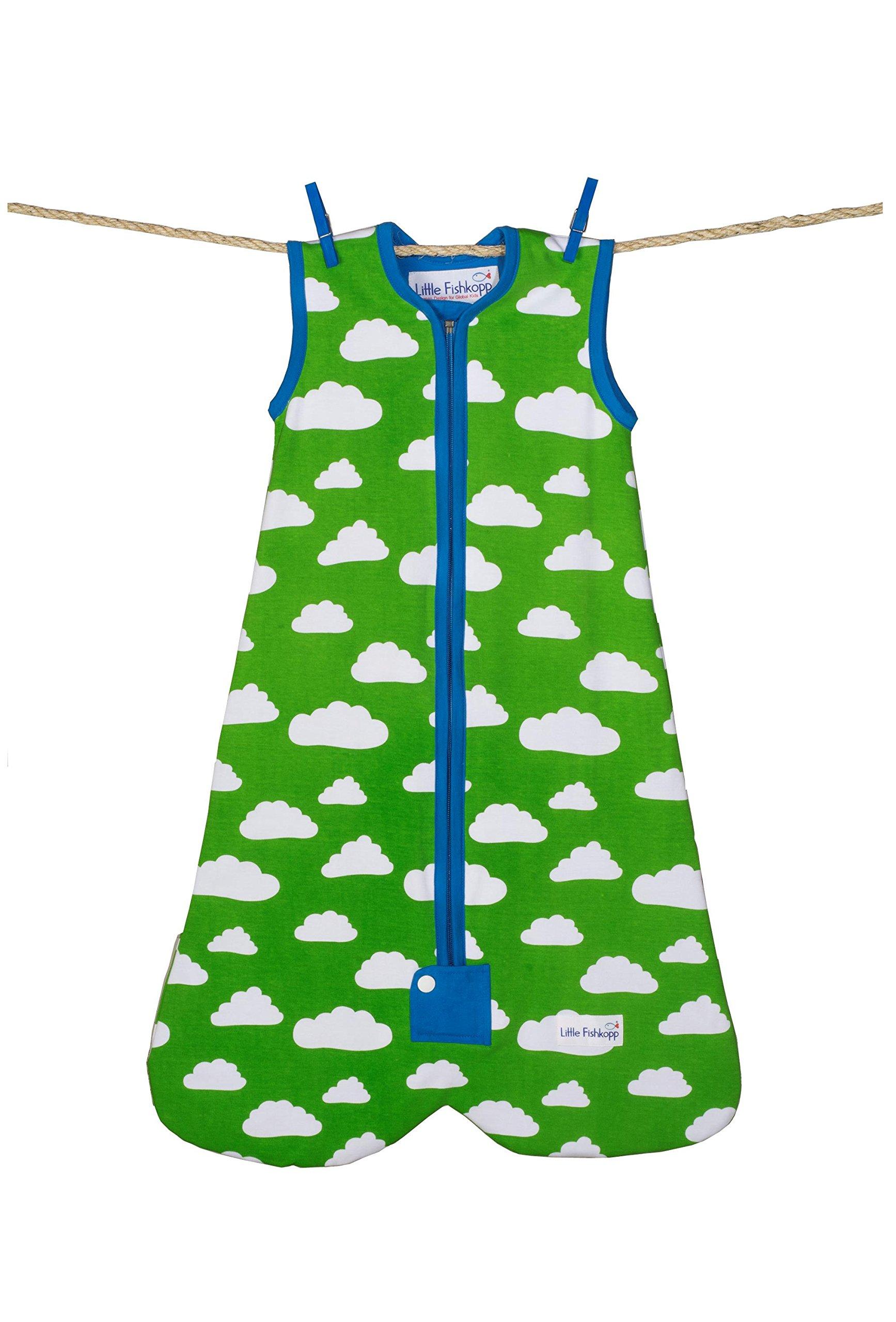 Little Fishkopp Organic Cotton Baby Sleep Bag, Clouds, 1.0 Tog, Green, Large