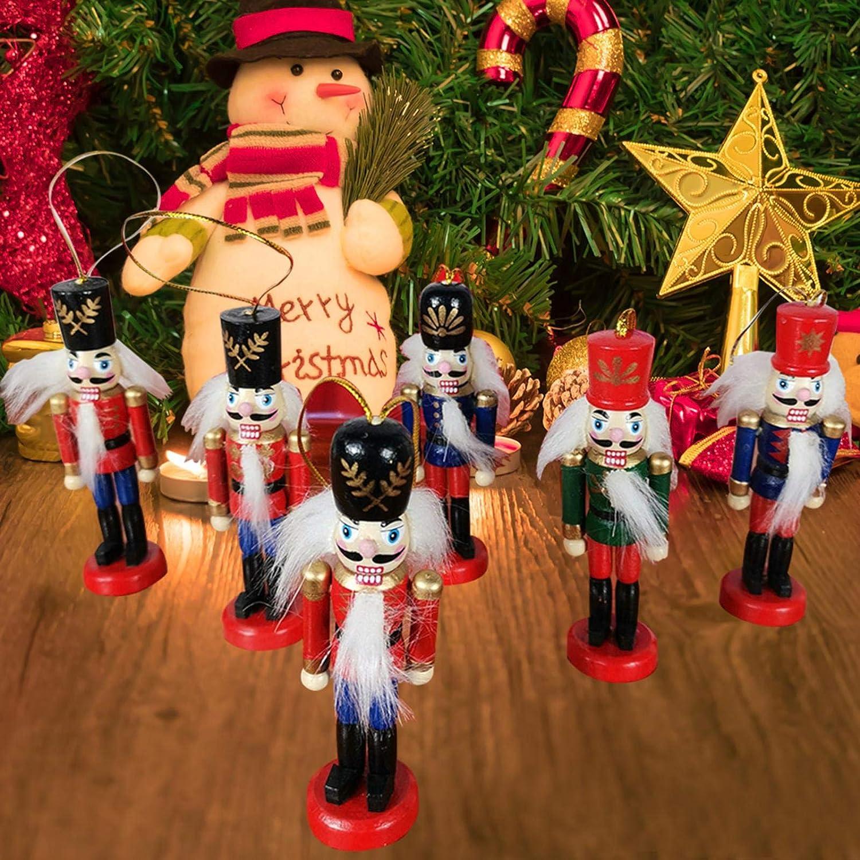 10.5cm Nutcracker Puppet Walnut Soldier Pendant For Childrens Room Decoration XIANLIAN 6pcs Soldier Wooden Nutcracker Ornaments Pendant